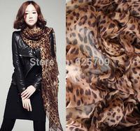 2014 New Fashion  Hot Spring Autumn Scarf Chiffon Warm Winter Scarves Leopard Pattern Shawl Gifts  COFFEE