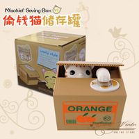 6pcs/lot cat steal coin bank,kitty saving money box,storage jar for kids,money bank,cute Christmas gift