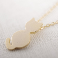 Free shipping 10pcs/lot Gold/Silver Plated Sitting Cat Pendant Necklace Cute Cat Shape Necklace XL126