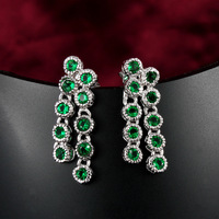 Top Quality Luxury Blue/Red/Green 3 Colors Natural Cubic Zircon Wedding Long Dangle Earrings 18K White Gold Plated