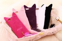 1pc/lot new Luxury Plush Cat Plush Villi Cat Tail Back Case Cover For Iphone 6 6 plus 4.7/5.5 inch case cover Free Shipping