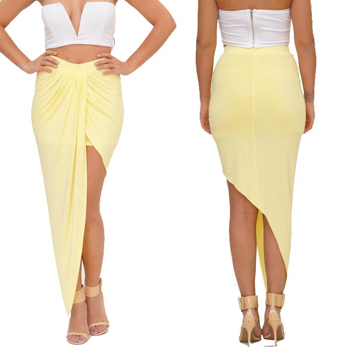 5 Color 2014 New Women Yellow Summer Sexy Asymmetrical Drape Beach Mini Skirt 4169(China (Mainland))