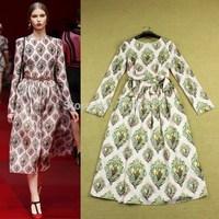 New Arrival Brand Designer 2015 Fashion Elegant Slim Diamond Print Long-sleeve Mid-Calf Dresses Forr Women Vestido Longo Casual