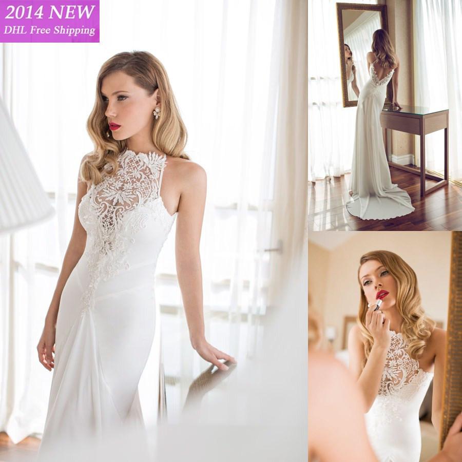 2015 novo designer sexy ver atravs com apliques de renda e beading chiffon casamento vestidos de renda backless wedding dresses(China (Mainland))