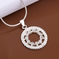 Hot Sale!!Free Shipping 925 Silver Necklace,Fashion Sterling Silver Jewelry Insets Stone Circle Necklace SMTN488