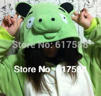 Free Shipping Anime Animal Pig Cos Pajamas Women Men Adult Green Onesie Polyester Polar Fleece Pyjamas One Piece Romper