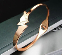 Fashion Charm bracelet bangles Rose gold plated sweety fox cuff bangles for women top quality christmas gift