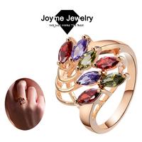 Joyme Brand 2014 women Vintage Rose Gold Austrian Crystal Wedding Rings Jewelry Free Shipping RG0011