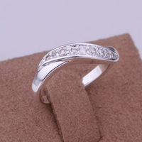 Free Shipping 925 Sterling Silver Jewelry Ring Fine Fashion Silver Plated Zircon Women&Men Finger Ring Top Quality SMTR159