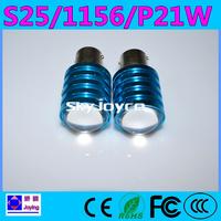 Freeshipping 2X S25 1156 P21W 9W led reverse lights cree R5 led white color led backup lamp bulb for bright led auto bulb 1156