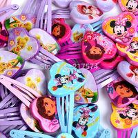 12Pair/lot New Cartoon Children Princess Hair Pins Minnie Mouse Tinkerbell Princess Dora Multiple Designs Girl Hair Clips