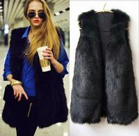 Low price High Quality 2014 New Style women vest fur winter women coat colete feminino casual office vest