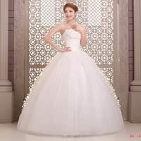 Salomon Wedding Dresses Sweatheart Bridal gown White Appliques Back Lace Up Natural Strapless Vestido de noiva X030