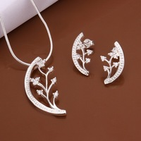 Wholesale Sterling 925 Silver Jewelry Set,925 Silver Fashion Jewelry,Fashion Charm Pendant Necklace+Earring Set SMTS467