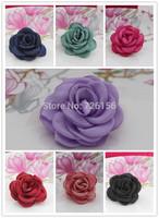 240pcs/lot Matte satin Layered Poppy Flower hairband accessories Flat Back