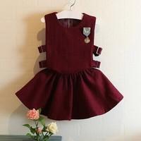 2T-8 kids girls clothing sets 2014 Autumn winter short-sleeve woolen vest mini skirt 2pc twinset suit for children girl