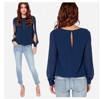 2014 Women Blouse Spring Fashion Long Sleeve Tops Hollow Out Chiffon Blouse Plus Size XXXL casual Blusas Femininas