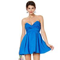 Perfect sweetheart waist deep V-neck pleated tube top back long metal zipper one-piece dress women dress vestidos casual dress