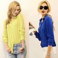 HOT 2014 Women new fashion long sleeve contracted Chiffon blouse lining casual plus size blouses shirt 5 color 24866