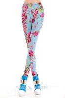 Women's Autumn Slim Floral Printed High Elastic Leggings/Pants,Free Shipping