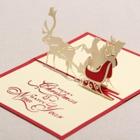Creative Kirigami & Origami 3D Pop UP Greeting & Gift Christmas Cards with Santa Claus & Carriage Free Shipping (set of 10)