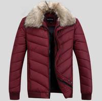 2014 fashion coat men with cotton down jacket outdoors man jacket winter warm fur collar down jacket men for park men 225B