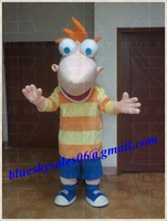 Character fur Phineas mascot costume for sale