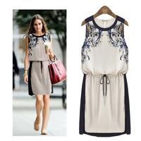New fashion 2014 Printed Dress Summer Vintage Women's clothing Pinched Waist Chiffon dress Casual Dress Women Sleeveless dress