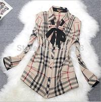 2014 New Fashion Women's Button Down Casual Lapel Plaids Pure Cotton Shirt  Checks Flannel Shirt Top Blouse Free Shipping