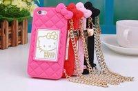 Cute Hello Kitty Mirror Phone Case Bag With Chain for iphone 6 6 Plus, for iphone 5/5S Hello Kitty Cover
