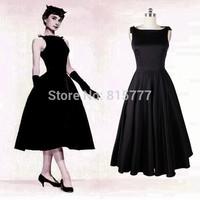 Smart A-Line High Neck Tank Sleeveless Mid-Calf Elastic Satin Little Black Prom Dresses Evening Dresses