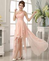 Elegent Beautiful Short formal bridesmaid dress Party Ball Prom toast Wedding bride dresses One Shoulder High/Low Asymmetric