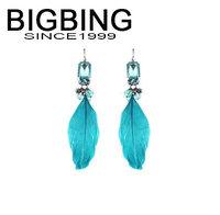 BigBing Fashion blue crystal feather Earrings fashion earring fashion jewelry nickel free Free shipping! j1017