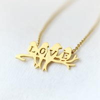 Min 1pc Gold/Silver Love Bird on Branch Pendant Necklace Cute Bird with Love Letter Shape Necklace XL129