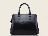 HOT 2014 fashion brief fashionable casual black shoulder bag big bag cowhide leather waxing women's genuine leather handbag
