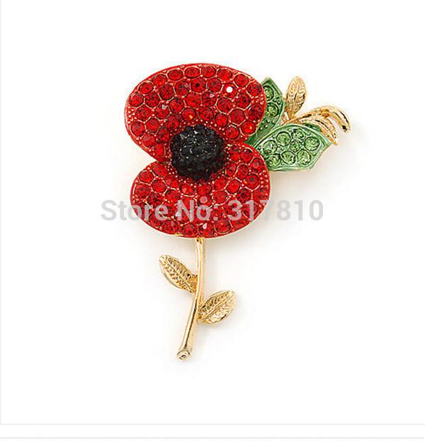 Free Express Shipping ! Gold Tone Red Diamante Crystal Rhinestone Royal British Legion Poppy Flower Brooch Remembrance Day Pins(China (Mainland))