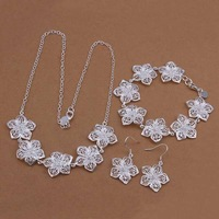 Wholesale Sterling 925 Silver Jewelry Set,925 Silver Fashion Jewelry,Flower Necklace+Bracelet+Earring Set SMTS450