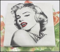 Food-grade Marilyn Monroe Paper Napkin Festive & Party Tissue Napkin Supply Party Decoration 33cm*33cm 1pack/lot