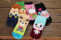 new thick coral fleece socks children socks cartoon cute animals warm in winter 8-12 years old