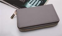 10PCS Hot  Genuine Leather original Michaeled Zipper bag Cross pattern wallet case for  5/5G/5S 4/4S wih retail box-p5