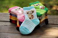 Coral velvet thick winter socks baby socks newborn cross Terms cartoon super soft socks