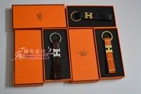 High-end luxury fashion crocodile H Keychain Men Women leather buckle key chain car key ring