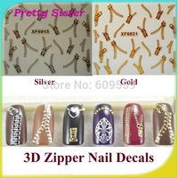 2 Sheets 3D Metallic Zipper Nail Art Stickers Popular Zipper Decals 1 Gold+ 1 Silver Funky Zipper