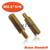 100pcs/lot Brass Standoff Spacer M2.5 Male x M2.5 Female -5mm Thread 6mm