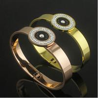 Guarantee100% 18K gold plated 316l Titanium Steel european style crystal stone clover charm woven infinite  bracelet