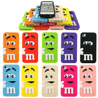 For Iphone 6 4.7inch Silicon Case  new Lovely Cute 10 colors 3D Cartoon Chocolate Candy Rainbow Bean soft touch high quality MM