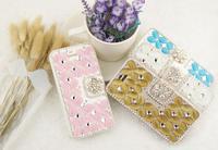Opal Diamond Cat Eye Bling Rhinestone Luxury Flip Wallet Stand Leather Hard Case For Apple Iphone 6/ 6 plus/5 5S