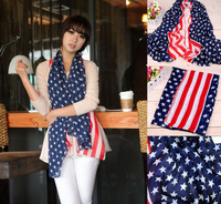 2014 New Fashion Hot Spring Autumn Scarf Chiffon Warm Winter Scarves Arerian Flag Shawl Gifts  Blue Color