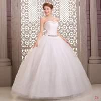 Fashion Wedding Dresses Sweatheart Bridal gown Floor Length Strapless Natural Ball Gown Crystal Vestido de noiva X037
