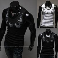 Skull pattern casual vest male elastic o-neck undershirt slim basic vest